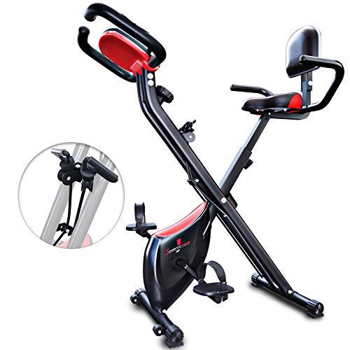 Vélo d'exercice pliable Sportstech avec dossier X100-B avec volant d'inertie de 4 kg + support de tablette + 4 niveaux de résistance magnétique + capteurs de fréquence cardiaque