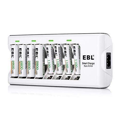 Chargeur de batterie EBL 808 avec 4 unités AA 2800mAh et 4 unités AAA 1100mAh Ni-MH Batteries rechargeables