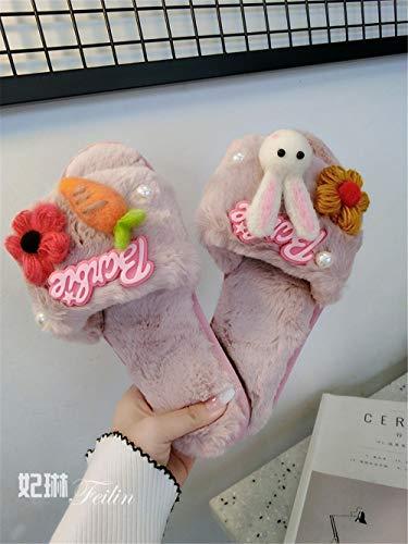 Chaussons en coton lhxyx Maison d'automne et d'hiver pour femmes Chaussures d'intérieur en feutre antidérapantes, traînée, 6,36