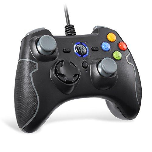 Contrôleur de jeu EasySMX avec câble, double vibration, connexion USB, fonction Turbo & Trigger, gris