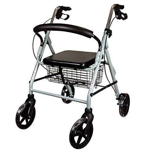 Marchette 4 roues pour personnes âgées | Avec freins aux poignées, réglable en hauteur, pliable, panier, dossier et siège | Mod. Sofia | Mobiclinic