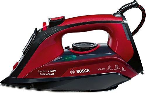 Bosch TDA503001P Sensixx'x DA50'x DA50 - Fer à vapeur, 3000 W, 200g coup de vapeur, 45g/min vapeur constante, base Ceranium Glisèe, couleur grenat