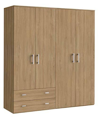 Armoire moderne en bois, 4 portes + 2 tiroirs, noyer 161x52 207H