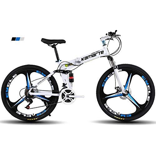 Vélo de montagne Hommes FJW, 26'-3' Wheels High Carbon Steel Frame, 21/24/27 Speed Folding Bike Double Suspension Unisexe avec freins à disque, Noir,24Speed