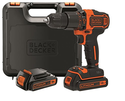 BLACK+DECKER BDCHD18KB-QW - Marteau perforateur 18V, 40 Nm, avec 2 piles lithium 18V (1.5Ah) et valise de transport