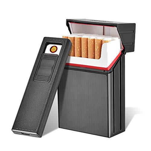 Étui à cigarettes avec briquets, Allume-cigarette électrique rechargeable USB Loyal, paquet complet de 20 cigarettes en métal, porte-cigarettes régulier, coupe-vent, boîte grand format pour cigarettes sans flamme.
