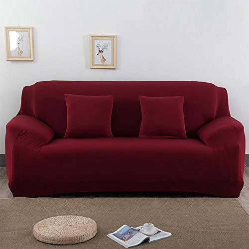 Housses de canapé élastiques universelles s'adapte à tous les tissus recouverts Housse d'ameublement élégante et durable pour 1/2/3 des sièges LoveSeat (3 places, rouge)