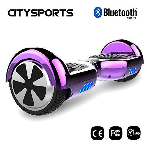 CITYSPORTS Hoverboard 6,5 pouces, Electric Scooter Balance Board Intelligent Scooter 2x350W avec lumières LED, Bluetooth