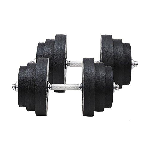 HOMCOM Fitness Weights Ensemble d'haltères 40KG Réglable pour la maison et le Fitness Gym professionnel avec barre et disques en acier