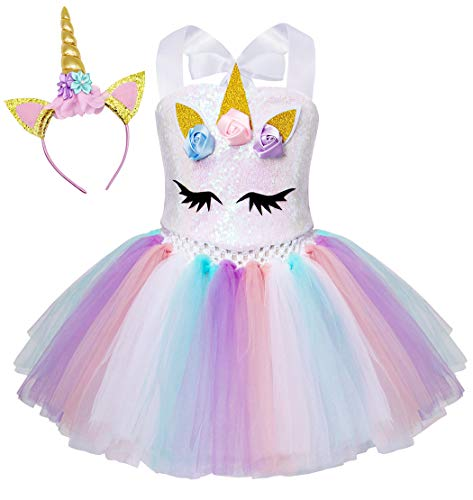 AmzBarley Unicorn Princess Princess Dresses Princess Girl Tulle Party Tutu avec dentelle Fleur sans manches, Princesse Halloween Costume avec anneau de cheveux de mariage (4-5 ans, blanc 6)