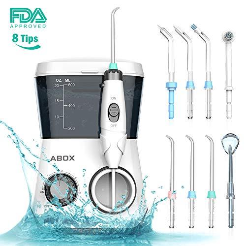ABOX Professional Dental Irrigator, irrigateur oral avec 8 buses multifonctions, 10 réglages de pression d'eau et 600ml Capacité du réservoir d'eau de la famille, approuvé FDA, CE