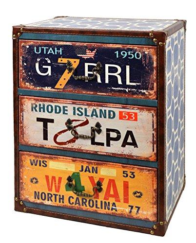 ts-ideen Container Confortable étagère design design garde-robe rétro shabby style UTAH industriel avec cuir synthétique et tiroirs