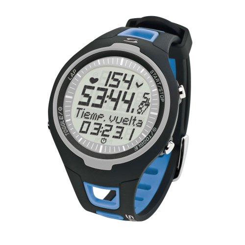 Sigma PC 15.11 - Moniteur de fréquence cardiaque analogique unisexe (compteur de calories, compteur 50 tours, fréquence cardiaque), bleu/noir, Taille unique pour tous