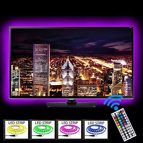 Kit d'éclairage LED USB pour TV RVB multicolore, rampe lumineuse flexible avec 44 touches, télécommande, pour l'éclairage de fumée de 40 à 70 pouces HDTV