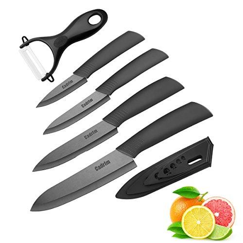 Cadrim Couteaux de chef, Couteaux de cuisine en céramique, Couteaux en céramique pour couper la viande de légumes aux fruits 5pcs / Set Noir