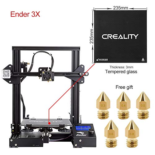 Comgrow Creality 3D DIY 3D DIY 3D Ender-3X Imprimante 3D avec plaque de verre trempé et cinq buses 220*220*250 Format d'impression