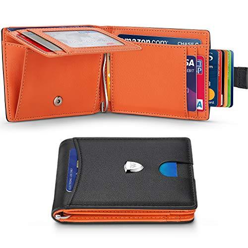 WILBEST Portefeuille homme avec étui à monnaie, porte-monnaie RFID, porte-monnaie homme en cuir - 13.56 MHz Block, sangle de traction externe intelligente, pince à billets antidérapante, noir orange