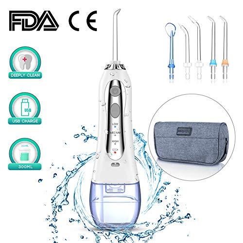 Irrigateur buccal portable professionnel, 300ML Irrigateur dentaire rechargeable, 3 modes, IPX7 étanche avec 5 embouts pour la maison, le voyage, le bureau.