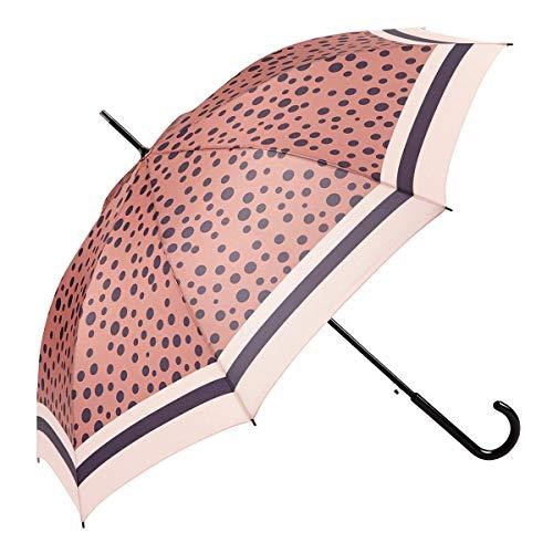 EZPELETA Parapluie Longue Femme. Automatique et coupe-vent. Pois estampillés - Rose
