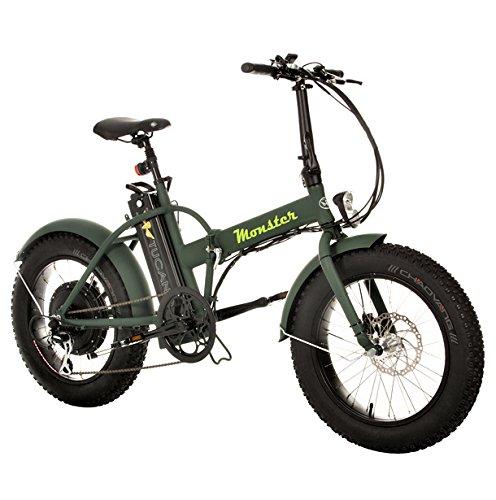 Monster 20 - Vélo électrique pliable - 20 pouces - Moteur 500W, 48V-12ah - Affichage LED avec 9 niveaux d'aide - Châssis en aluminium (vert forêt)