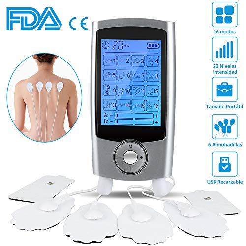 Massage avec électrostimulateur numérique EMS TENS Portable, 16 modes 6 coussinets 6 canaux Stimulateur de muscles rechargeable 2 canaux Masseur électrostimulateur pour le soulagement des douleurs cervicales / des jambes / abdominales / dorsales / du cou
