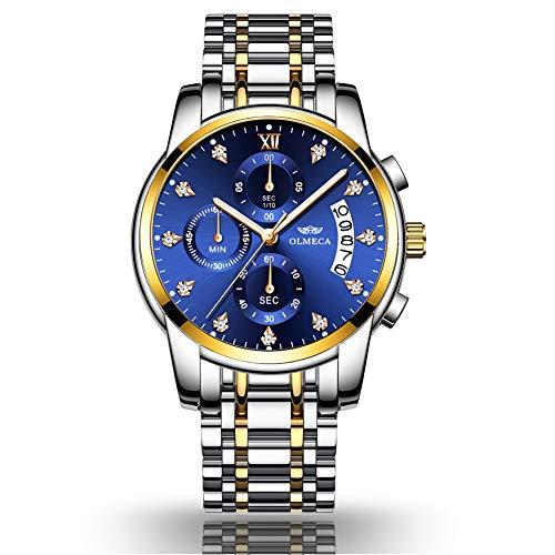 Montre pour homme, acier inoxydable, montre à quartz imperméable, Casual Business Style. (Bleu)