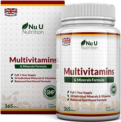 Formule MultiVitamines & Minéraux | 24 suppléments vitaminiques (Vitamines et Minéraux | végétarien | homme/femme | Cure D'1 An/365 Comprimés | Nu U Nutrition Supplement)