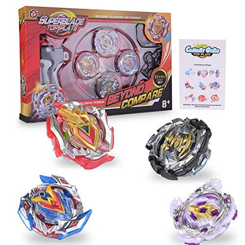 FORMIZON Beyblade Beyblade Burst Peonzas, 4 Pcs Gyro Spinning Fusion 4D Metal Sets, Beyblade Gyro Spinning Fusion Metal Sets, Cadeau pour Enfants