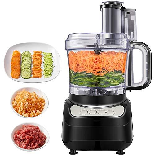 Robot de cuisine Aicok, 500W, 1.8 Litres Coupe-légumes électrique, 3 modes de vitesse, 2 lames une pour couper la viande et une pour faire la pâte, couleur noire