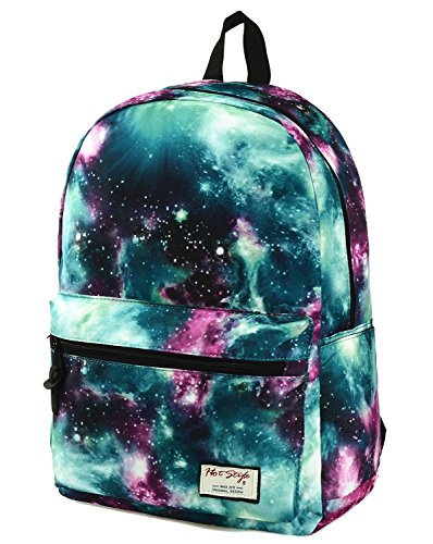 TRENDMAX Galaxy Print School Backpack | 42,5x29x13cm | pour ordinateur portable 15 pouceses | Vert
