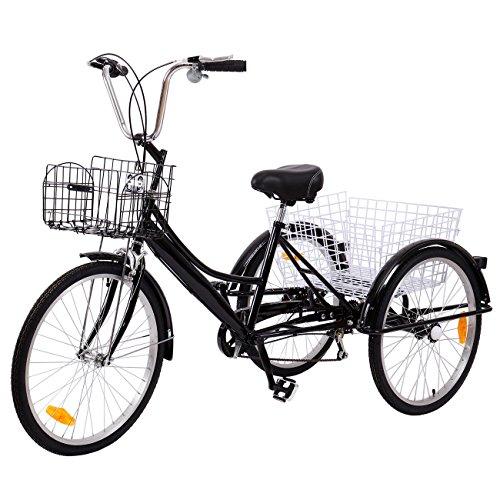 Ridgeyard Adult Tricycle 24' 6 vitesses 3 roues adulte avec panier(noir-2)