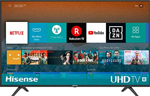 Hisense H43BE7000 - Smart TV ULED 43' 4K Ultra HD, 3 HDMI, 2 USB, Sortie optique et casque, WiFi, HDR, Dolby DTS, processeur Quad Core, Smart TV VIDAA U 3.0 avec IA