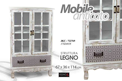Gicos Mobile Vitrine en bois Vieilli Décorative Vintage Blanc L 67 P 36 h 114 h 114 cm jkc