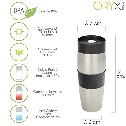 Oryx 5075040 Oryx 5075040 Verre Thermique Acier Inoxydable à l'épreuve des gouttes 380 ml