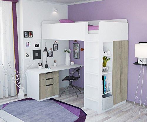 Lit superposé, lit haut Polini pour enfants, 5 en 1 combinaison en différentes couleurs weiß ulme