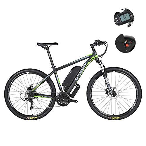 Vélo de montagne électrique, frein hybride à double disque 24 vitesses pour toutes les routes, avec interface de charge USB et écran LCD54 intelligent sensible à l'eau IP54,Vert,36V29IH mètre