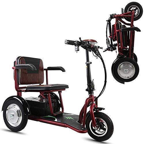 WARM ROOM 3 Wheel Electric Voiture électrique, Portable pliable pour les personnes âgées / Handicapés en plein air Scooter de loisirs Mobilité Mobilité Protection de l'environnement (12AH / 20AH)