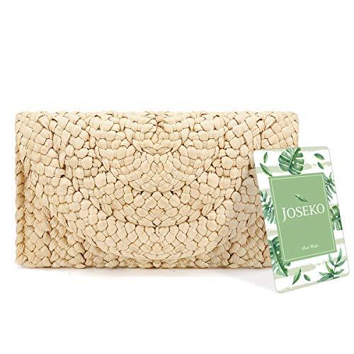 Pochette de paille,JOSEKO Sac à main femme Enveloppe Flat Clutch Sac de plage d'été à pochette plate