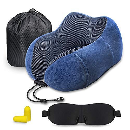 Oreiller de voyage, oreiller cervical orthopédique Guenx, avec masque pour les yeux, bouchons et sac de lanière, support cervical de voyage à cou lisse idéal pour l'avion et l'usage à domicile