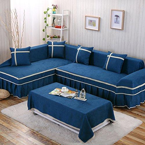 YEARLY Loom housse de canapé, housse de canapé européen housse de canapé Salon housse de canapé Vintage housse de canapé en dentelle avec cordon housse Four Seasons-Blue L gauche 170x260cm (67x102inch)
