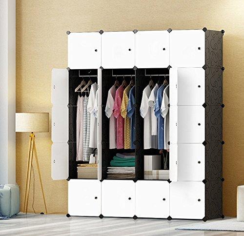 PREMAG DIY Boîtier portable, Organisateur de rangement modulaire, Placard peu encombrant, Cube plus profond avec penderie 20 Cubes