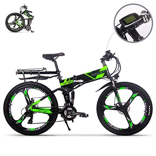 eBike_RICHBIT RLH-860 vélo de montagne électrique VTT pliable VTT e bike 36V * 250W 12.8Ah lithium - batterie fer 26inch roue en magnésium intégrée (vert)