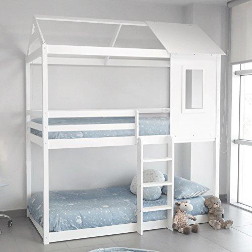 DISTRIMOBEL Litera Montessori type avec forme de casita Couleur Blanc Mesures 201,5 cm Largeur x 227 cm Hauteur x 97,5 cm Fonds Bois massif