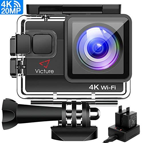 Victure Sports Camera Wifi 4k Ultra HD 20MP Action Camera Acuatica de 40M avec 2 batteries et chargeur externe, fonctions anti-vibration et laps de temps