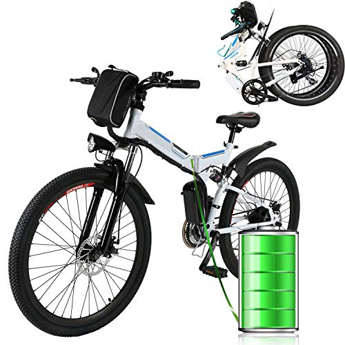 Laiozyen 250W Vélo électrique pliable Unisexe Vélo électrique urbain adulte, Vélo de randonnée, 8AH, 36V Batterie au lithium-ion, 26' (Blanc-Folding)