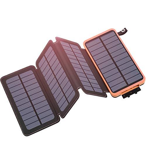 Hiluckey chargeur solaire 25000mAh Portable Power Bank avec 4 panneaux solaire externe Batterie externe étanche pour Smartphone, iPhone, iPad, Samsung, Android