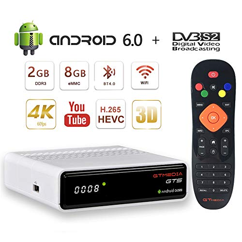 GT MEDIA GTS Android 6.0 TV Box DVB-S2 récepteur satellite récepteur TV Smart TV Box Décodeur, 2 Go de RAM + 8 Go ROM, Quad Core 4K / 3D / H.265 / MPEG-4, Wi-Fi 2.4G intégré, BT 4.0, Youtube CCcam Support