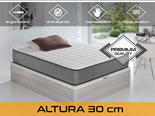 Dormi Premium Elax 30 - Matelas viscoélastique, 160 x 200 x 30 cm, Coton/Polyuréthane, Blanc/Gris, Mariage
