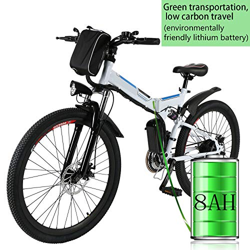 Bunao Electric Mountain Bike, Batterie 36V 8AH E-Bike Système de transmission à 7 vitesses avec lampe de poche et batterie au lithium amovible