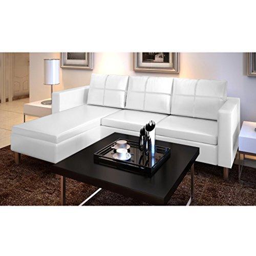 Canapé de fête en cuir avec 3 sièges blancs 188 x 122 x 77 cm
